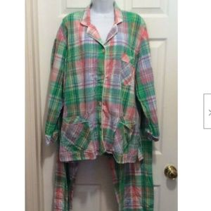 Victoria's Secret Pajama Set XL Green Blue White